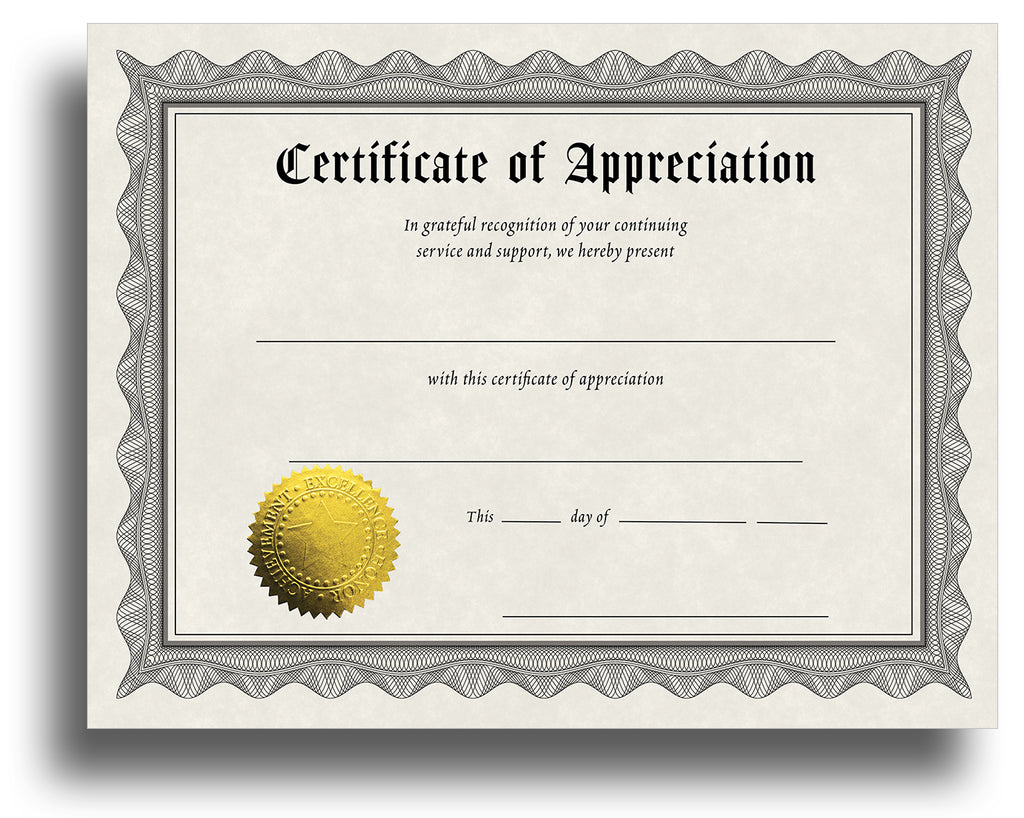 Award Certificates With Gold Foil Seal (Appreciation)