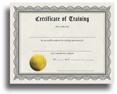 - Training - Award Certificate With Gold Foil Seal