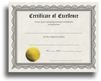 Award Certificates With Gold Foil Seal (Excellence)