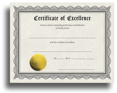 '- Excellence - Award Certificate With Gold Foil Seal