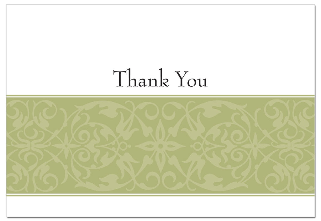"100 lb Sage Swirl Thank You Cards & Envelopes, measure(5 1/2"" x 7 3/4""), compatible with copier, inkjet and laser, matte both sides"