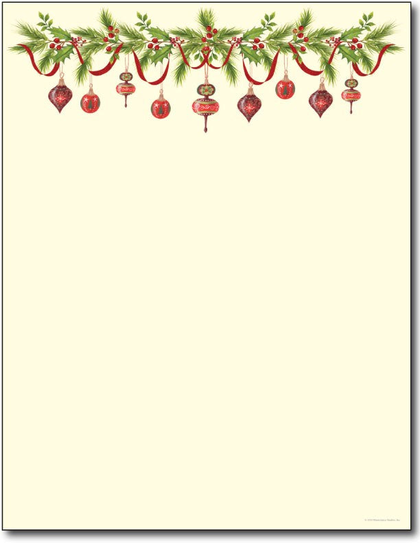 "70lb Grandma's Ornaments Letterhead Sheets measure 8 1/2"" x 11""."