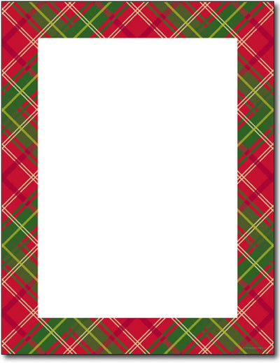 50lb Country Plaid Letterhead Sheets,  measure (8.5 X 11) , compatible with inkjet and laser