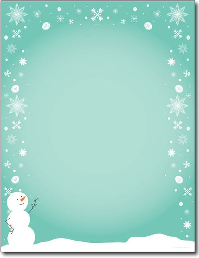 "60 lb Silly Snowman Letterhead, measure( 5.625"" X 7.875""), compatible with copier, inkjet and laser"