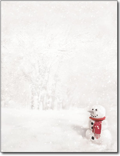 "24 lb Snowman in Red Scarf Letterhead, measure( 5.625"" X 7.875""), compatible with copier, inkjet and laser, matte both sides"