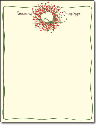 60lb Season's Greetings Wreath Letterhead Sheets, , measure (8.5 X 11) , compatible with inkjet and laser