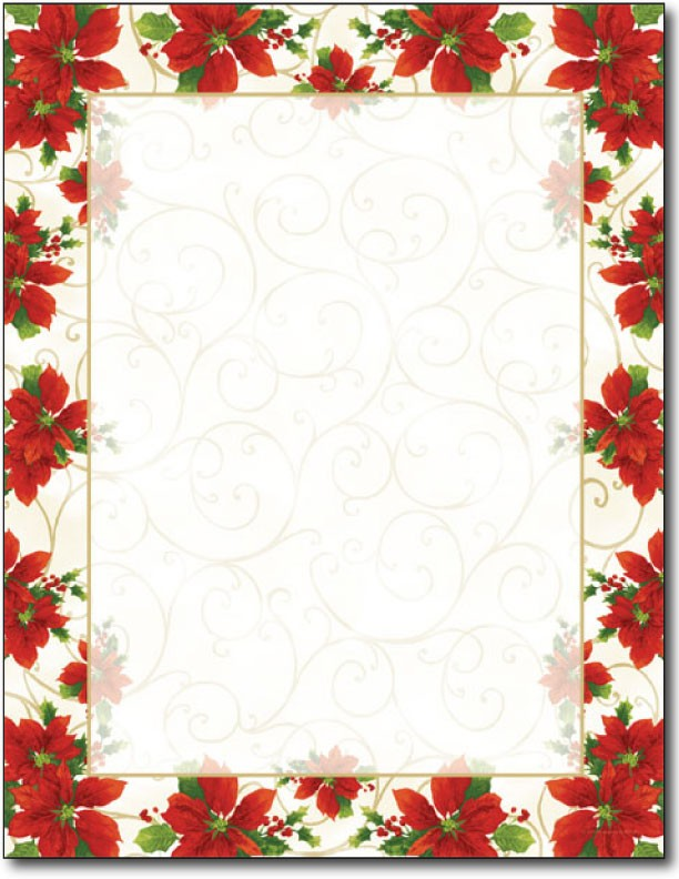 60 LB Poinsettia Swirl Letterhead, measure(8.5 X 11), compatible with copier, inkjet and laser, matte both sides