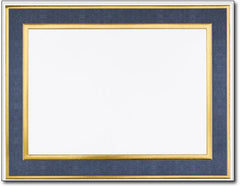 "65lb Navy Foil Frame Certificates,  measure (8 1/2"" x 11"") ,compatible  with copier, inkjet and laser, matte both sides"