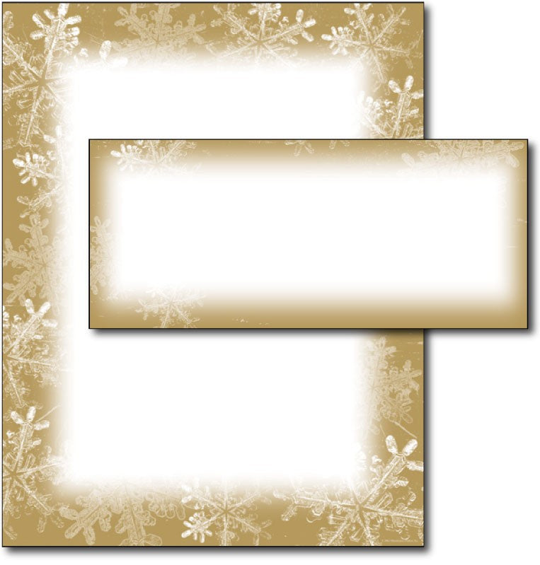 Frosted Holiday Wishes Letterhead & Envelopes -  40 Sets, compatible with inkjet and laser