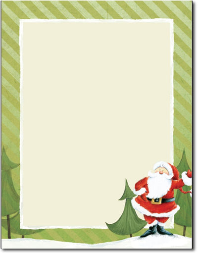 "24 lb Jolly Santa Claus Stationery, measure(8 1/2"" x 11""), compatible with copier, inkjet and laser"