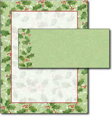 Jolly Holly Letterhead & Envelopes -  40 Sets, compatible with inkjet and laser