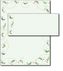 Holly Bunch Letterhead & Envelopes -  40 Sets, compatible with inkjet and laser