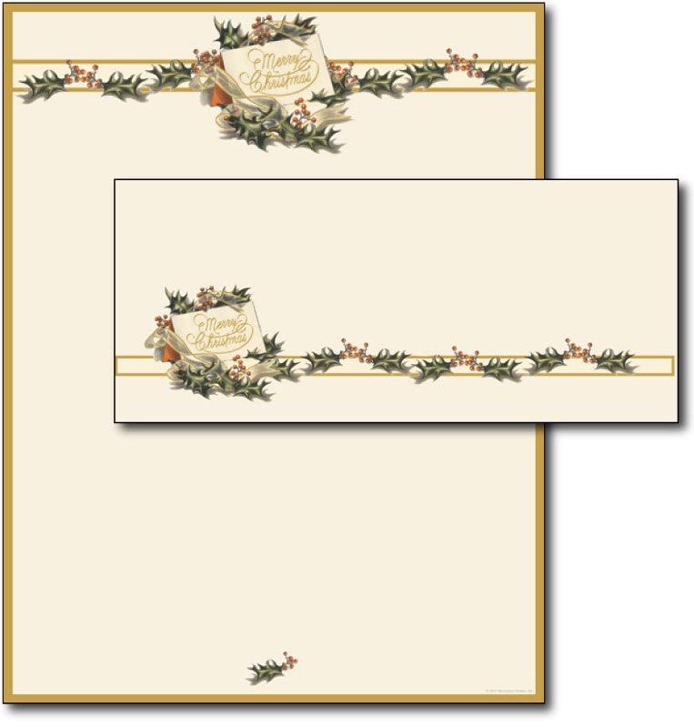 Vintage Christmas Holly Letterhead & Envelopes - 40 Sets, compatible with inkjet and laser