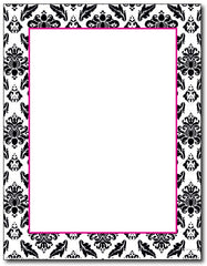 "50 lb Black & White Damask Letterhead, measure(8 1/2"" x 11"" ), compatible with inkjet and laser, matte both sides"