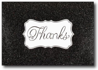 "Fun Black Glitzy Glitter Thank You Cards feature Black Glitter Texture on the front with the word ""Thanks"" printed in cursive over a white background"