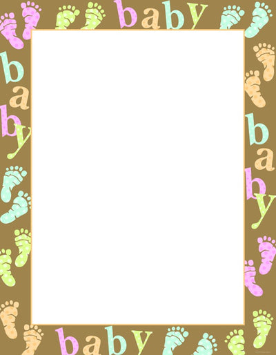 "Baby Dots & Feet stationery featuring baby feet illustrations and the word ""Baby"" in muiltple colors around the border of the letterhead"