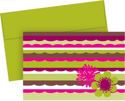 "127 lb Organic Citrus Scallops Note Cards & Envelopes, measure(3.875"" x 5.75"" ), compatible with inkjet and laser, matte both sides"