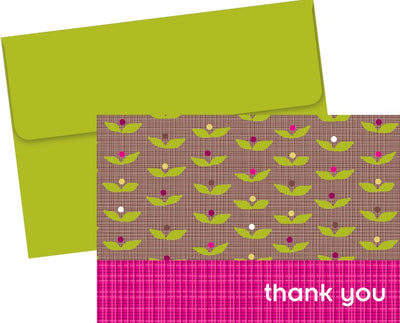 "65 lb Organic Citrus Garden Thank You Note Cards & Envelopes, measure(3.375"" x 4.875""), compatible with inkjet and laser, matte both sides"