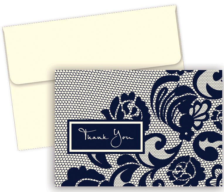 "127 lb Lovely Lace Thank You Note Cards & Envelopes, measure(4.87"" x 3.375""), compatible with inkjet and laser, matte both sides"