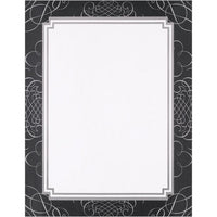 Black and Silver Scrolls Letterhead - 80 Sheets