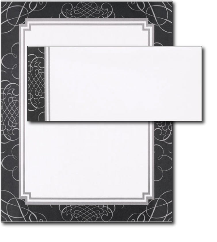 black & white formal wedding anniversary party letterhead stationery paper sheets envelopes set combo
