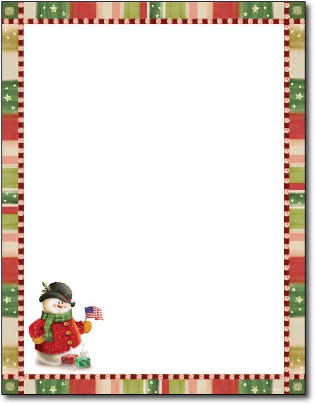 "50lb Patriotic Snowman Letterhead Sheets, measure (8 1/2"" x 11"") , compatible with copier,inkjet and laser"