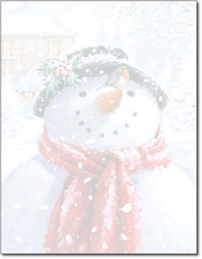 "50lb Snowman Face Holiday Letterhead, measure (8 1/2"" x 11"") , compatible  with copier, inkjet and laser, matte both sides"