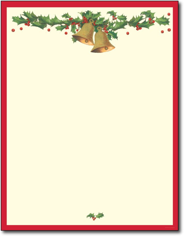 picture about Printable Christmas Stationery identified as Antique Bells Letterhead
