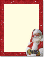 "50lb Jolly St Nick Letterhead, measure (8 1/2"" x 11"") , compatible  with copier, inkjet and laser, matte both sides"