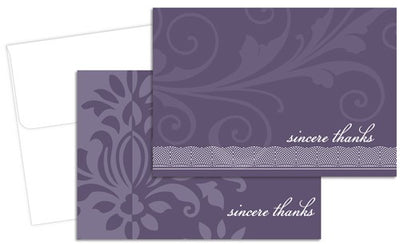 Amethyst Flourish Thank You Cards & Envelopes Set