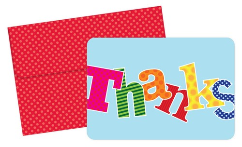 Carnival Thank You Cards featuring colorful lettering over a light blue background and a red envelope