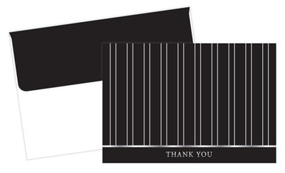 "100 lb silver pinstripes Thank You Cards & Envelopes, measure(4.875"" x 3.375"" ), compatible with copier, inkjet and laser, matte both sides"