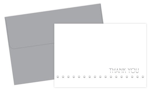Silver Lotsa Dots Foil Thank You Cards featuring an elegant silver foil lettered cover