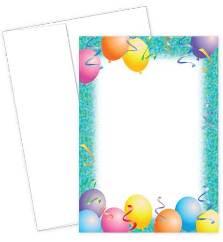 Party Flat Card Invitation Set featuring colorful balloons and streamers
