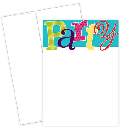 Patterned Party Flat Card Invitation Set featuring colorful lettering over a white and blue background