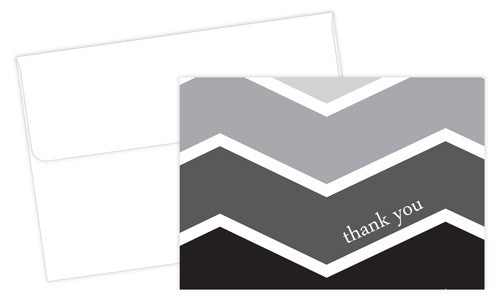 Ombre Chevron Thank You Cards featuring a stylish black and grey pattern on the cover