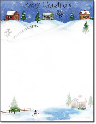 "50lb Folk  Art Village Holiday Stationery, measure(8 1/2"" x 11""), compatible with inkjet and laser"