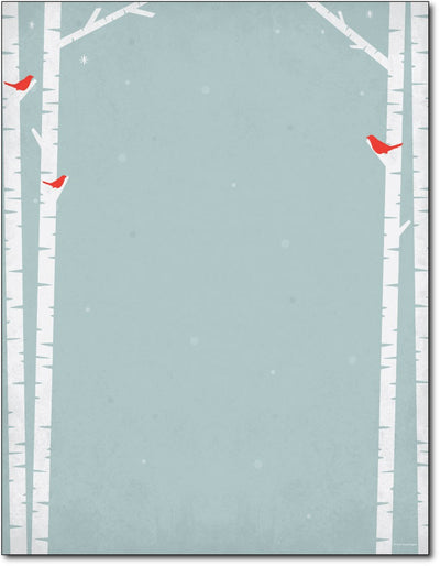 "50lb Birch Tree Silhouette Stationery, measure(8 1/2"" x 11""), compatible with inkjet and laser"