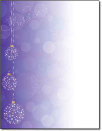 "50lb Believe Ornaments Holiday Stationery, measure(8 1/2"" x 11""), compatible with inkjet and laser"
