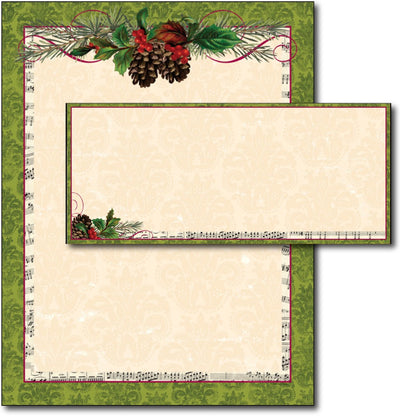 Pinecone Garland Letterhead & Envelopes - 40 Sets, compatible with inkjet and laser