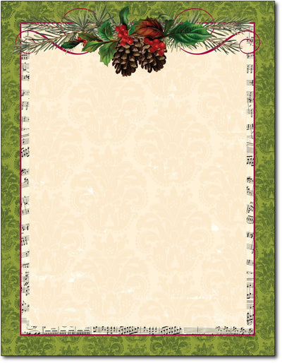 "50lb Pinecone Garland Holiday Stationery, measure (8 1/2"" x 11"") , compatible  with copier, inkjet and laser, matte both sides"