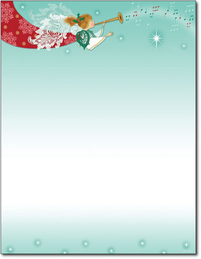 "50lb Herald Angel Christmas Paper, measure (8 1/2"" x 11"") , compatible  with copier, inkjet and laser, matte both sides"