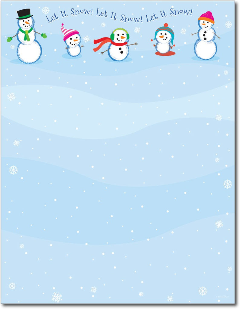 "50lb Let It Snowmen Holiday Paper, measure (8 1/2"" x 11"") , compatible  with copier, inkjet and laser, matte both sides"