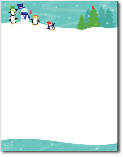 Penguins Playing Letterhead Paper features a snowman and four cute penguins over a white background