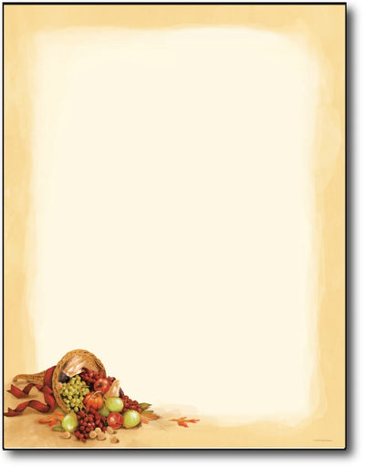 Cornucopia Letterhead Paper features a bountiful cornucopia of fruit with a simple light brown border over a white background