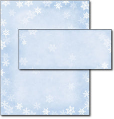 Winter Flakes Letterhead & Envelopes - 40 Sets, compatible with inkjet and laser