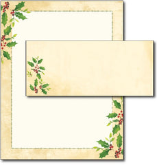 Falling Holly Letterhead & Envelopes - 40 Sets, Inkjet and Laser Printer Compatible