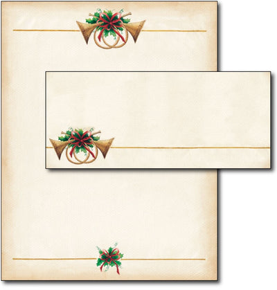 Antique Horns Letterhead & Envelopes - 40 Sets, Inkjet and Laser Printer Compatible