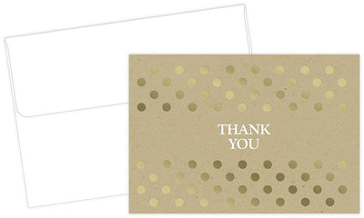Kraft Thank You Card Sets - 50 Cards