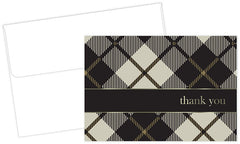 Black Plaid Thank You Cards - 24 Cards